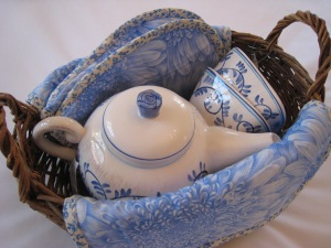 Italian Blue and White Tea Pot Gift Basket